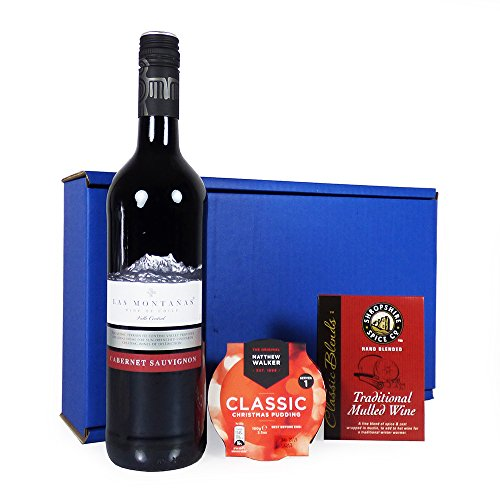 Traditional Mulled Wine Delights Wine Hamper In Blue Gift Box Red Wine Gift Ideas For Christmas Hampers